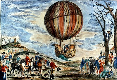 First manned hydrogen balloon flight