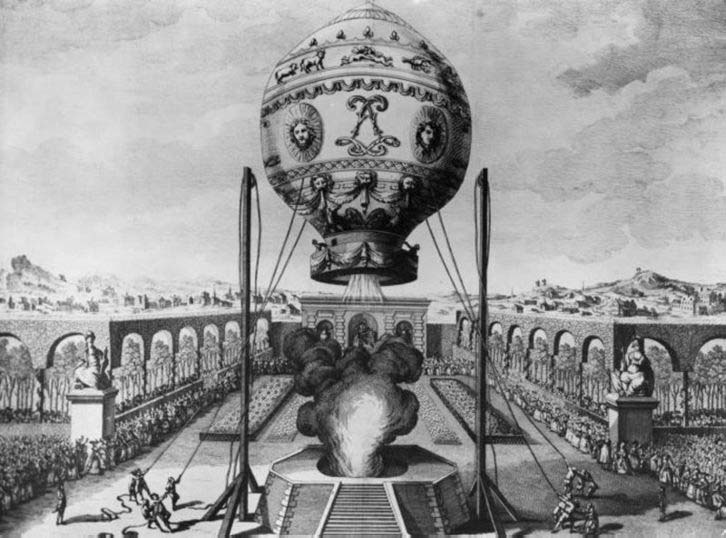 first recorded manned flight in a hot air balloon